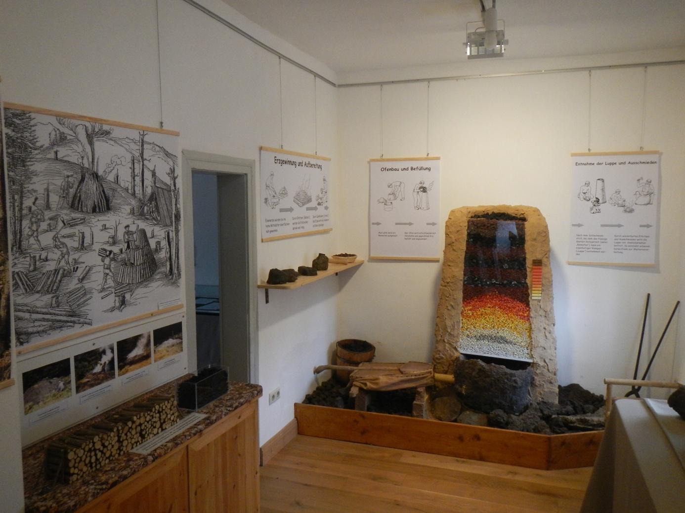 Einblick in den Raum der Dauerausstellung zur historischen Eisnegewinnung